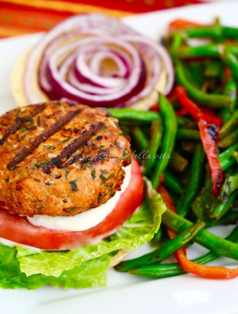 Delicious Salmon Burgers Garlic Aioli Lent