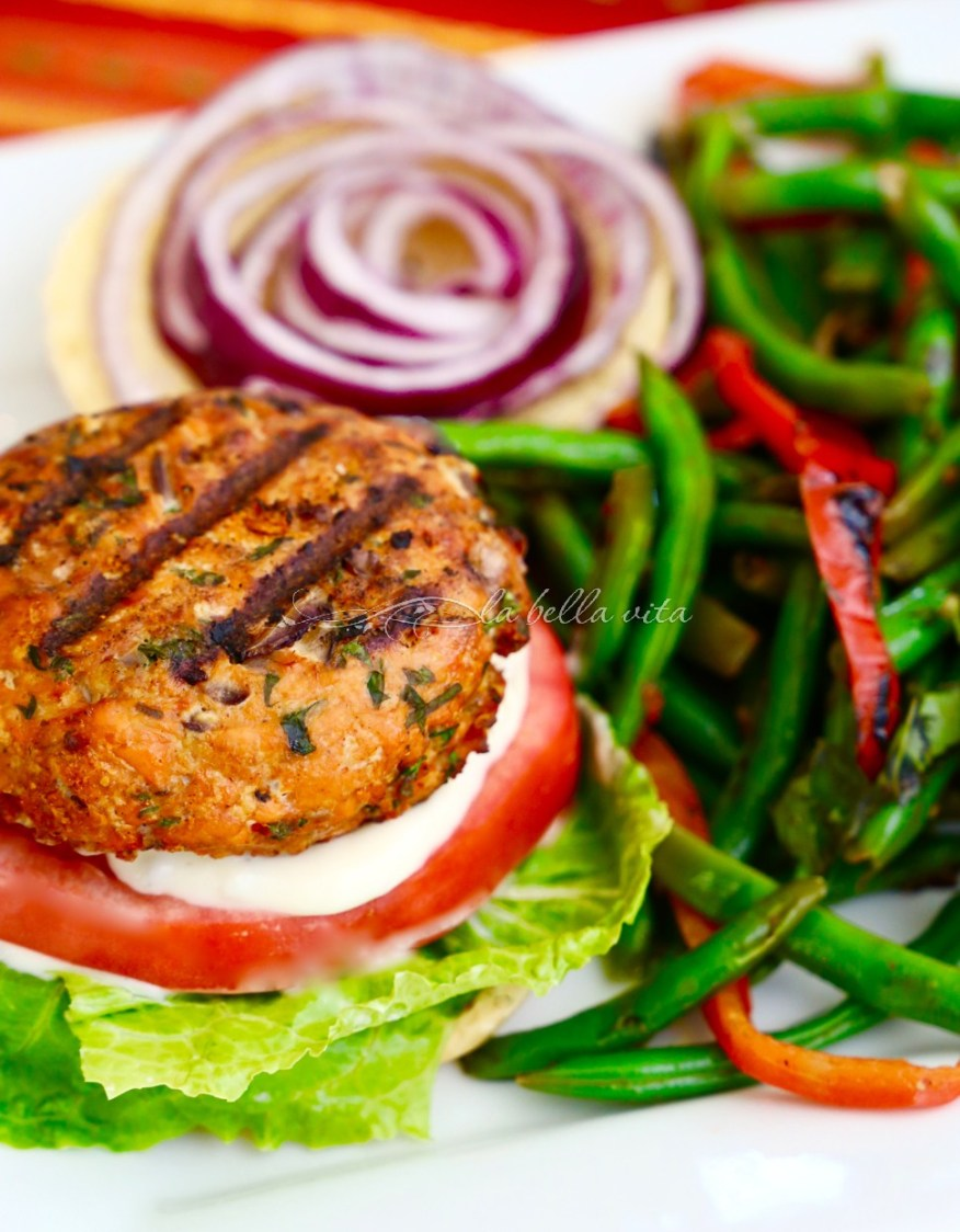 Delicious Salmon Burgers Garlic Aioli Lent