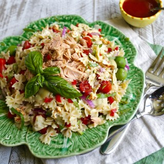 Tuna and Artichoke Pasta Salad with Sun-Dried Vinaigrette