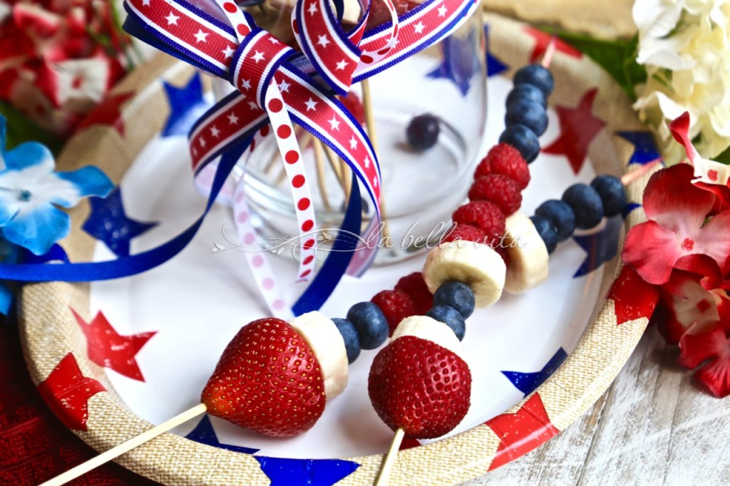 Red, White and Blue Fruit Kababs