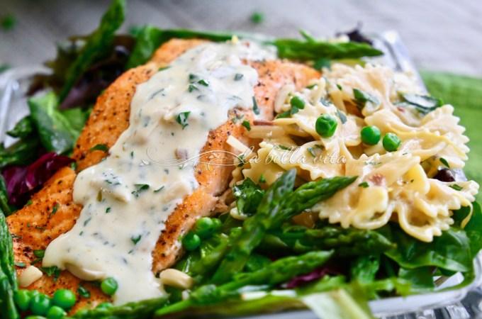 Salmon with Peas and Asparagus with Pasta in a Lemon Cream Sauce