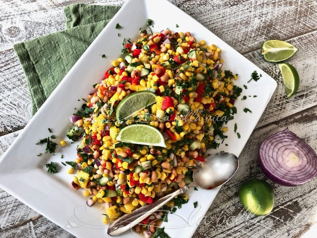 An AMAZING Corn and Black-Eyed Pea with Salsa Salad . . . Perfect For NEW YEAR'S and any party! | La Bella Vita Cucina