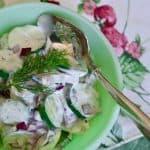 Creamy Cucumber Salad Kissed with Garlic