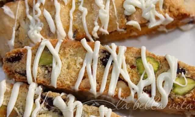 White Chocolate Drizzles Cranberry Pistachio Biscotti