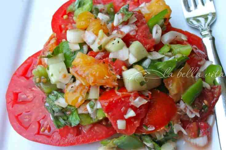 Garden Fresh Heirloom Tomato, Pepper, and Cucumber Salad