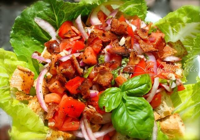 Panzanella Salad with Pancetta, Tomato and Basil
