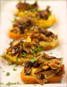 Polenta Crostini Bites with Caramelized Porcini Mushroom Cicchetti