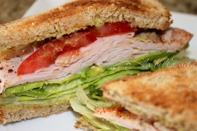 Turkey, Avocado and Tomato Sandwich with Jalepeno Cilantro Hummus