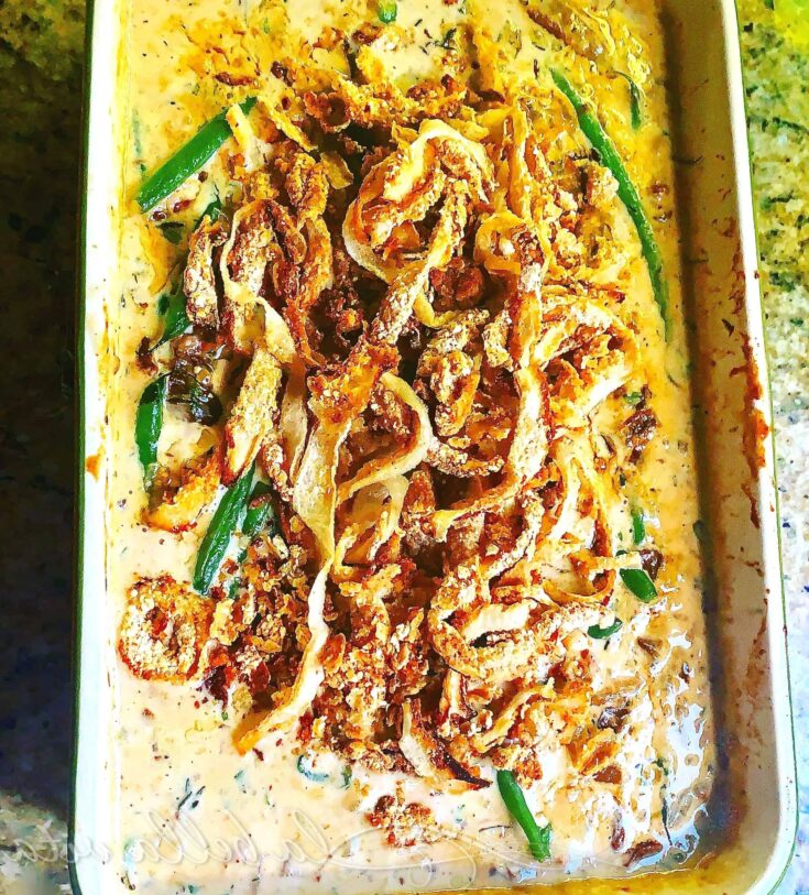green bean casserole with porcini, parmesan, and pancetta