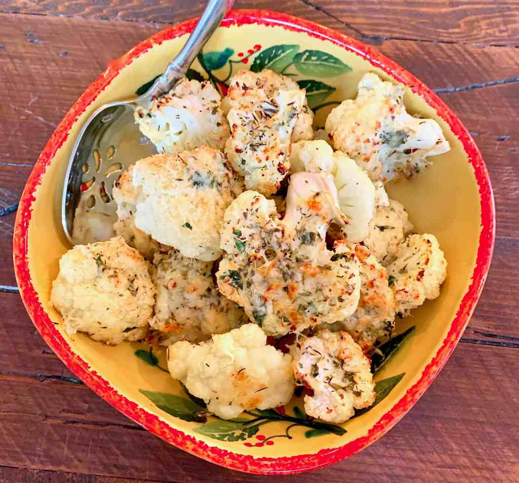 Roasted Cauliflower with Italian Cheese and Herbs