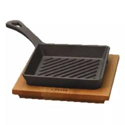 Padella grill quadra con supporto legno