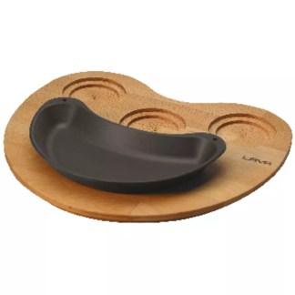 Piatto fajita mezzaluna con supporto legno