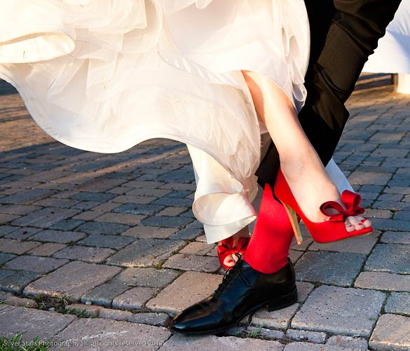 italian red wedding shoes by Valentino