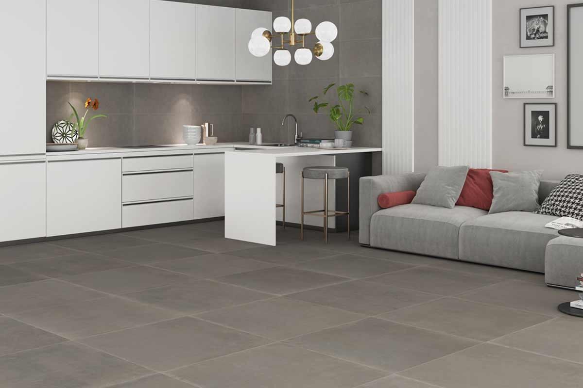 taupe concrete floor tiles