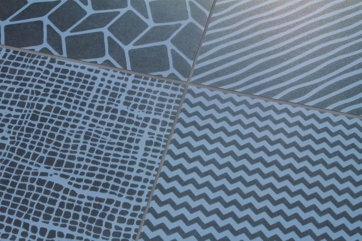 carrelage a motif geometrique mix noir et bleu tmo 8001 23 7x23