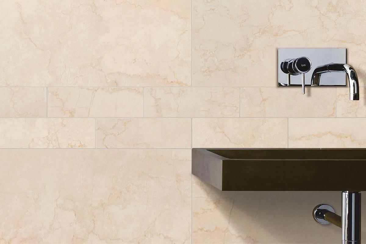 Gres porcellanato effetto marmo Botticino beige 30x60