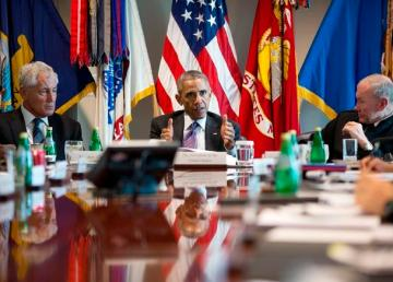 President Barack Obama meets with senior military leadership at the Pentagon in Arlington, Va., Oct. 8, 2014. (Official White House Photo by Pete Souza)