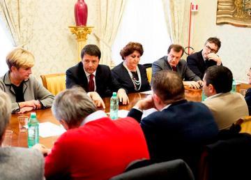 30 Ottobre 2014. Il Presidente del Consiglio incontra le rappresentanze sindacali su AST Terni. Foto-video: Tiberio Barchielli, Filippo Attili
