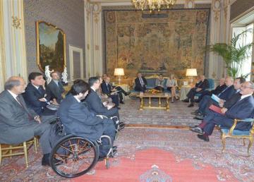 Didascalia 1: Il Presidente Napolitano incontra rappresentanti di Associazioni delle persone con disabilità in occasione della