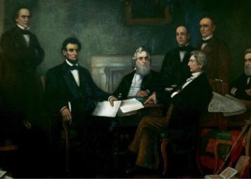 """Abramo Lincoln. """"Emancipation proclamation"""" di Francis Bicknell Carpenter - Senate.gov. Con licenza Pubblico dominio tramite Wikimedia Commons - https://commons.wikimedia.org/wiki/File:Emancipation_proclamation.jpg#/media/File:Emancipation_proclamation.jpg"""