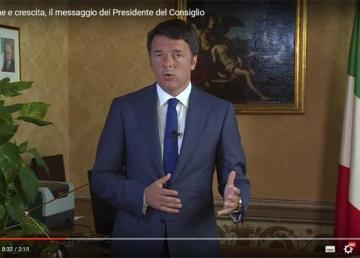 Immagine catturata dal video: Il messaggio del Presidente del Consiglio, Matteo Renzi, su occupazione e crescita. 01/09/2015. http://www.governo.it/Presidente/AudioVisivi/dettaglio.asp?d=79192