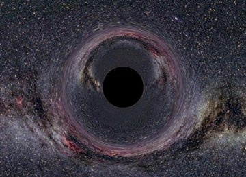 Probabile aspetto di un buco nero, di Ute Kraus, Physics education group Kraus, Universität Hildesheim, Space Time Travel, [(background image of the milky way: Axel Mellinger) - Gallery of Space Time Travel, CC BY-SA 2.5, https://commons.wikimedia.org/w/index.php?curid=370240]