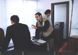 Sul set con Paolo Sassanelli (di spalle)