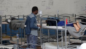 ITALY, Pozzallo (RG) : immigrants are pictured at C.P.S.A. of Pozzallo in southern sicily during the EP delegation visit on July 23, 2015.