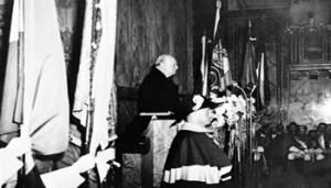 """Zurich Winston Churchill Zurigo, settembre 1946 - Winston Churchill in un discorso pronunciato all?Università lancia un appello in favore di """"una sorta di Stati Uniti d?Europa""""."""