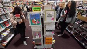 """Uno stand della fiera di Rho in occasione della prima edizione di """"Tempo di libri MIlano"""", 19 aprile 2017. Ansa/Daniel Dal Zennaro"""