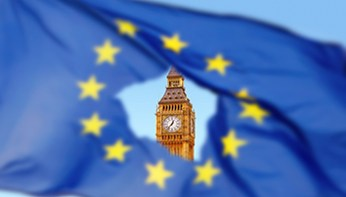Flag of EU with Big Ben in the hole