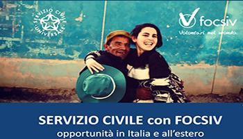 SERVIZIO CIVILE CON FOCSIV, OPPORTUNITÀ IN ITALIA E ALL'ESTERO