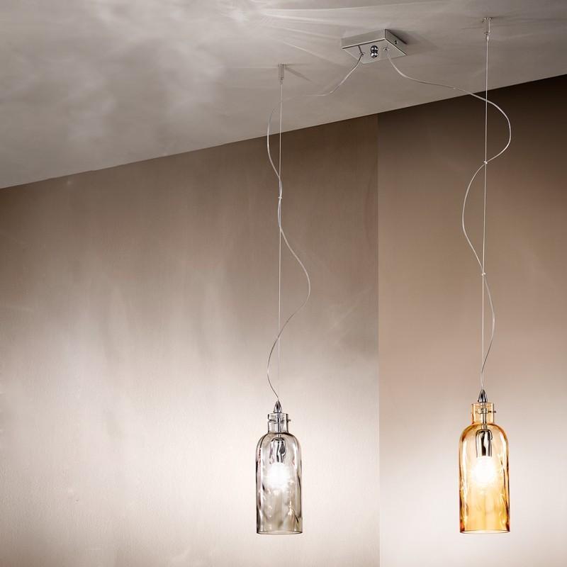 BOTTIGLIA Lampada a Sospensione 2 luci in Vetro Soffiato