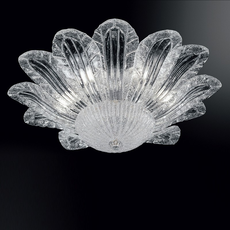 Ceiling light Murano Glass chandelier with leaves
