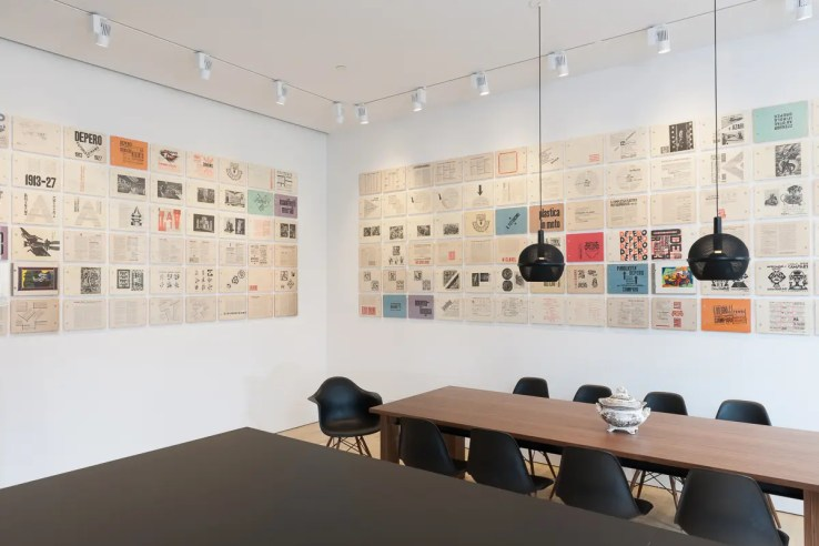 View of the Fortunato Depero installation, showing Depero Futurista (the Bolted Book) displayed at the Center for Italian Modern Art, 2014. Photo by Walter Smalling Jr.