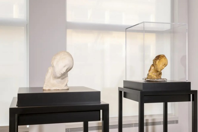 The Center for Italian Modern Art (CIMA) displays an installation of sculpture, drawing, and experimental photography by modernist Medardo Rosso October 20, 2014 in New York, NY.  -- Photograph by Walter Smalling.