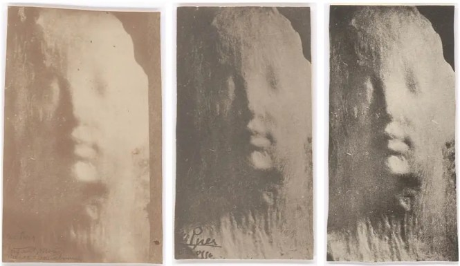 Medardo Rosso, Ecce peur (Behold the child), c. 1911-14. Vintage photographs. Private collection. Left: 14.3 x 8.8 cm Center: 12.5 x 6.9 cm Right: 14.6 x 7.4 cm