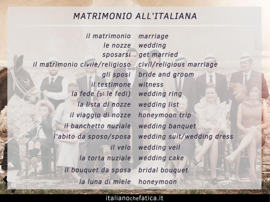 Vocabolario del matrimonio allitaliana Italiano che fatica