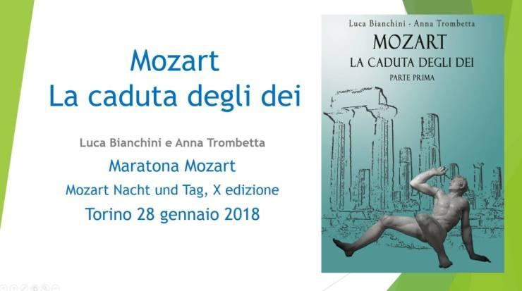 Luca Bianchini e Anna Trombetta alla Maratona Mozart di Torino, immagine della presentazione del libro Mozart la Caduta Degli Dei