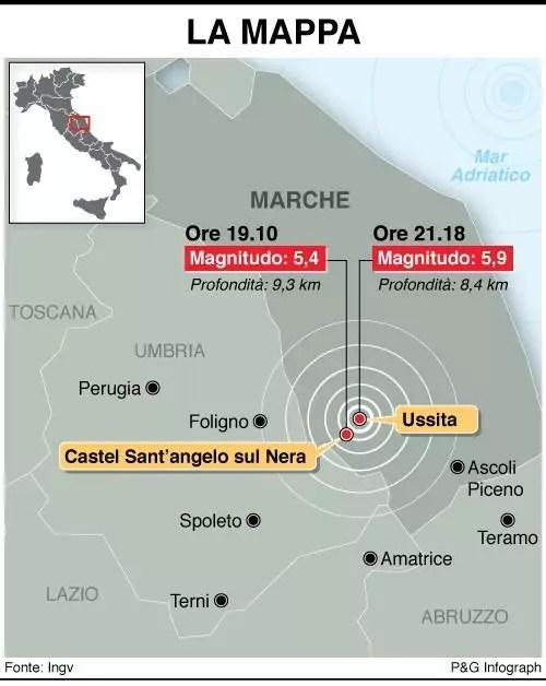 Le tre scosse di terremoto registrate tra le Marche e l'Umbria (infografica dell'Istituto nazionale di Geofisica e Vulcanologia)
