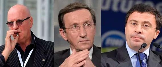 Da sinistra: Amedeo Laboccetta, Gianfranco Fini e Italo Bocchino