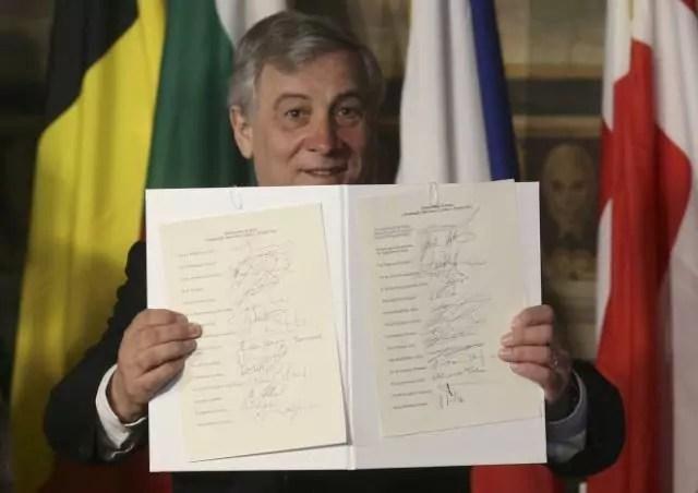Trattato di Roma Tajani documento leader eu
