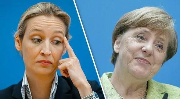 Germania, la leader di Afd Alice Weidel a sinistra e la cancelliera Angela Merkel a destra.