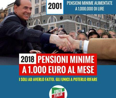 Berlusconi gioca la fiche delle pension a mille euro, mentre il Giovanotto appare sempre più solo. E DI Battista rinuncia a ricandidarsi.