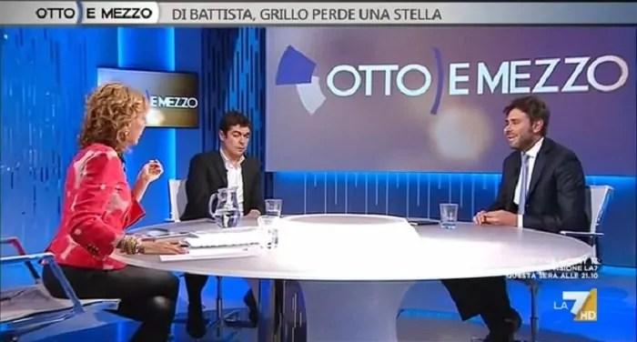 Il portavoce dei 5 stelle Di Battista al programma Otto e mezzo con la Gruber (ph. Dire).