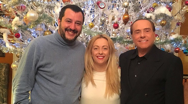 Vertice del Centrodestra Matteo Salvini (Lega), Giorgia Meloni (Fratelli d'Italia) e Silvio Berlusconi (Forza Italia) a Villa San Martino, Arcore, Milano - 7 gennaio 2018 (Foto: Silvio Berlusconi su Twitter)
