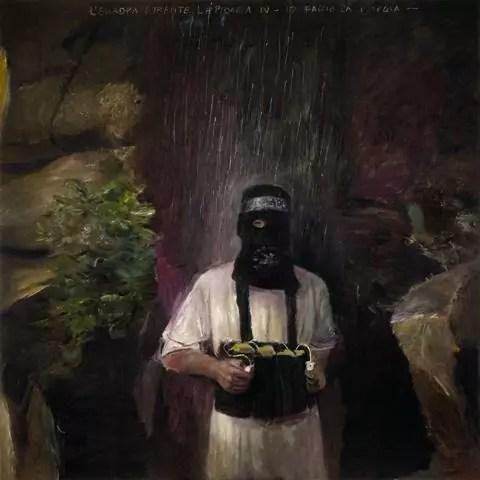 Pietro Geranzani, L'Europa durante la pioggia IV - Io faccio la pioggia, 2018, olio su tela (cm 180x180).
