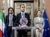 Luigi Di Maio parla alla stampa dopo l'incontro della delegazione M5s con Roberto Fico al Senato per il Governo.