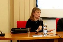 Antonella Santoro alla cerimonia di intitolazione del Digital Storytelling Lab al liceo Stellini.