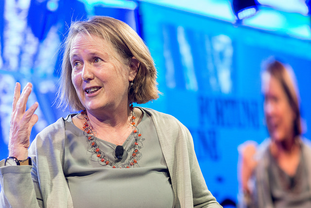 Diane Greene, Senior Vice President di Google e ceo di Google Cloud intervistata al Fortune Brainstorm Tech della rivista Fortune a Parigi nel luglio 2016 (ph. Kevin Moloney / Fortune).